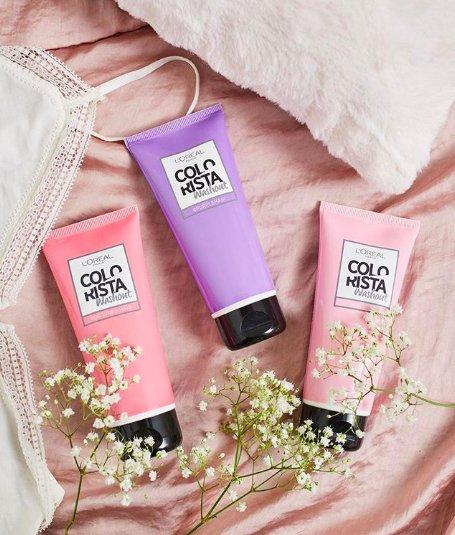 фиолетовый и розовый бальзамы для окрашивания волос